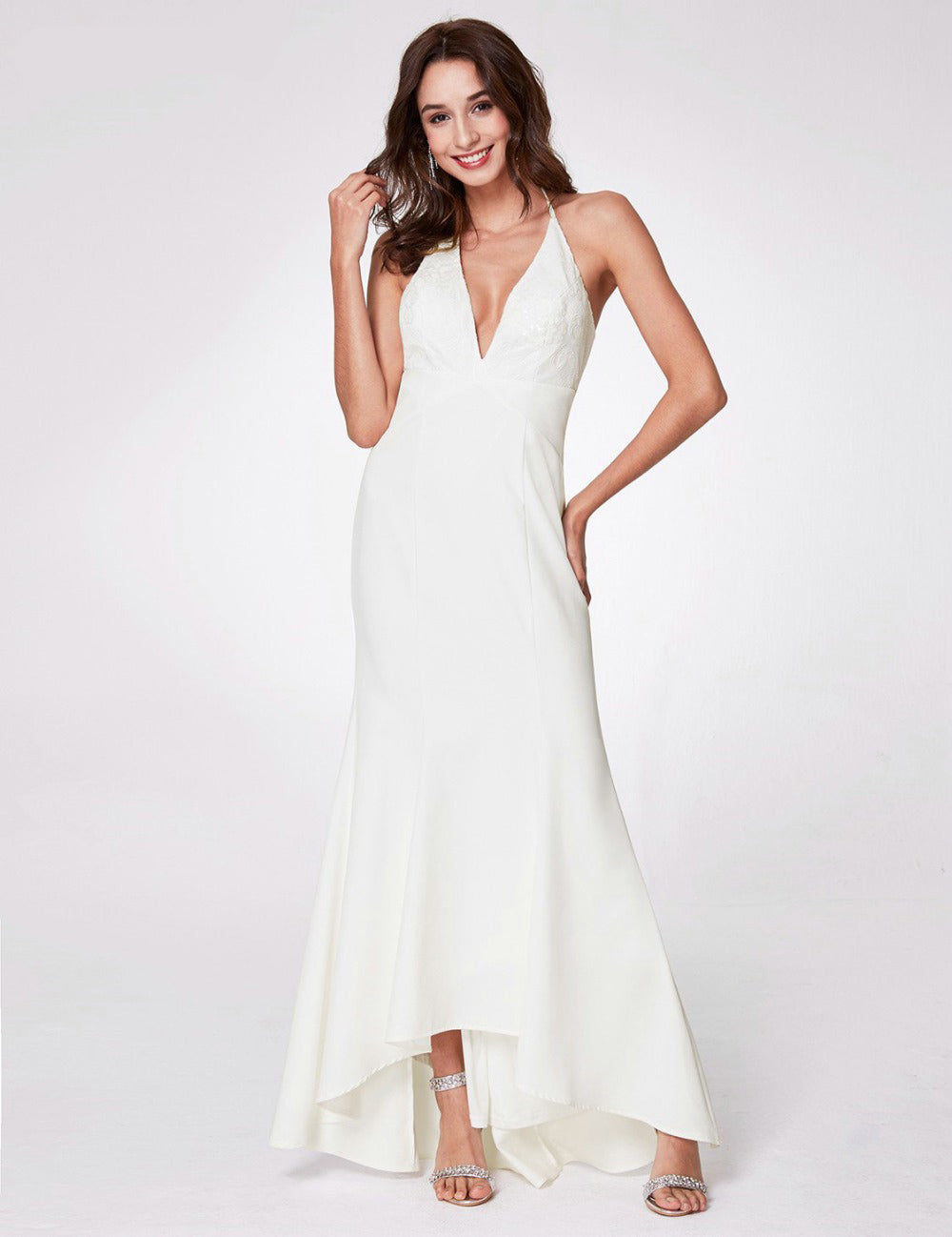 f5ed7ca4e4 The Trina Boho Deep V Fit & Flare Beach Wedding Gown :: Available Up to  Plus Size 26 W