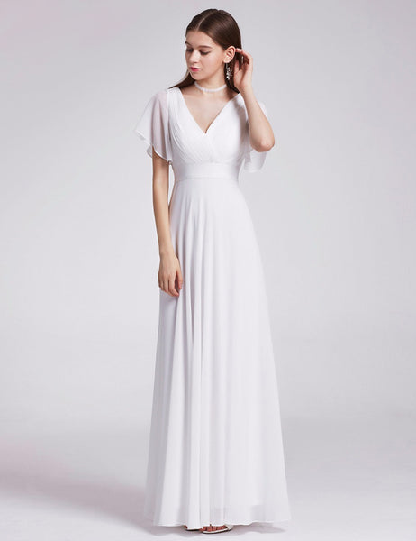 The Theodora  Vintage Chiffon Short Bell Sleeve Wedding Dress   Available Up to Size 26 W