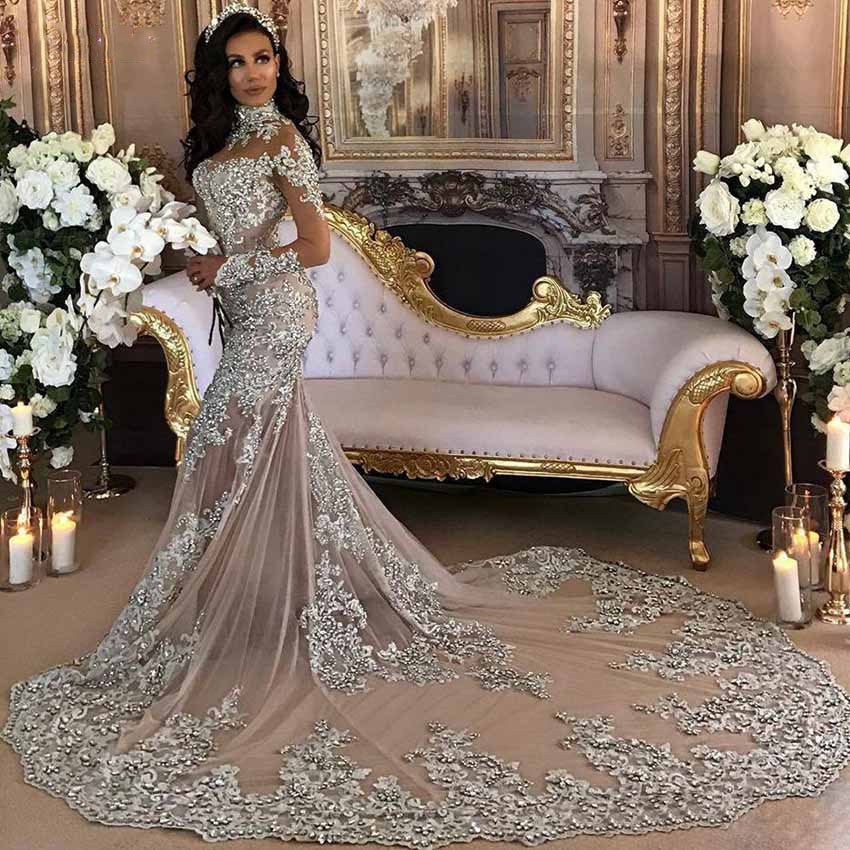 The Yolina Hand Beaded Crystal Lace Tulle Mermaid Luxury Wedding Broke Bride Dresses,Wedding Guest Fashionable Modern Indian Wedding Dresses For Girls