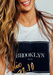 Brooklyn White Singlet Black and Gold print