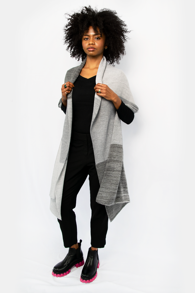Grey Tone Oversized Cashmere Wrap