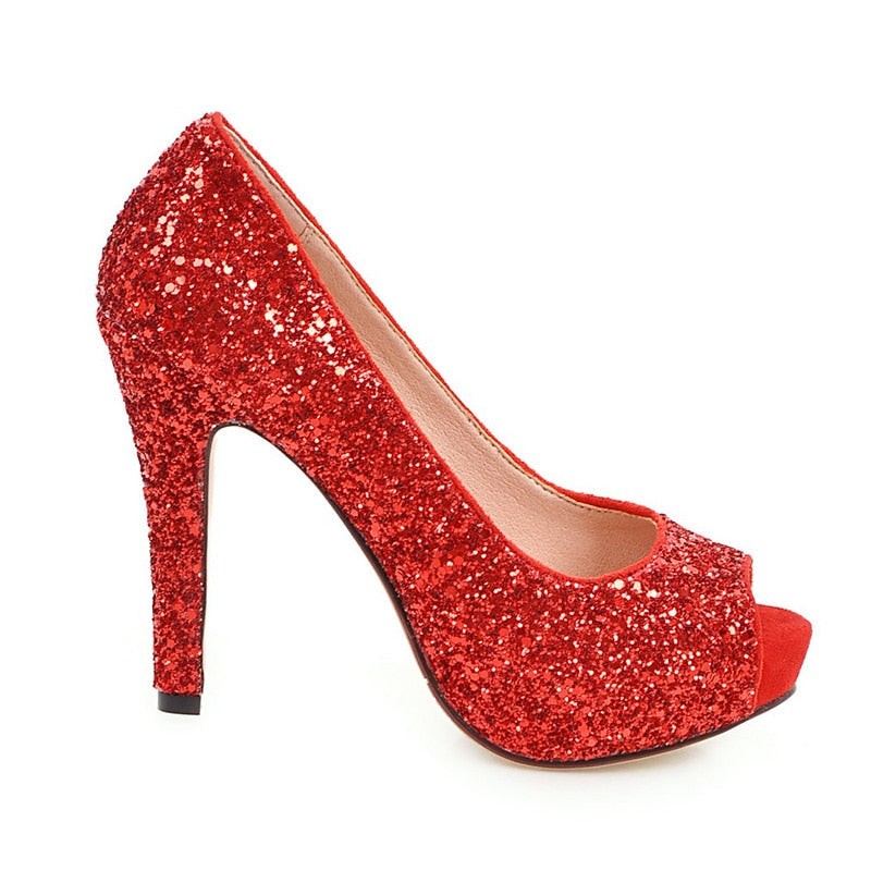 Peep-toe Platform Bling Wedding Shoes - LeFabStyle™