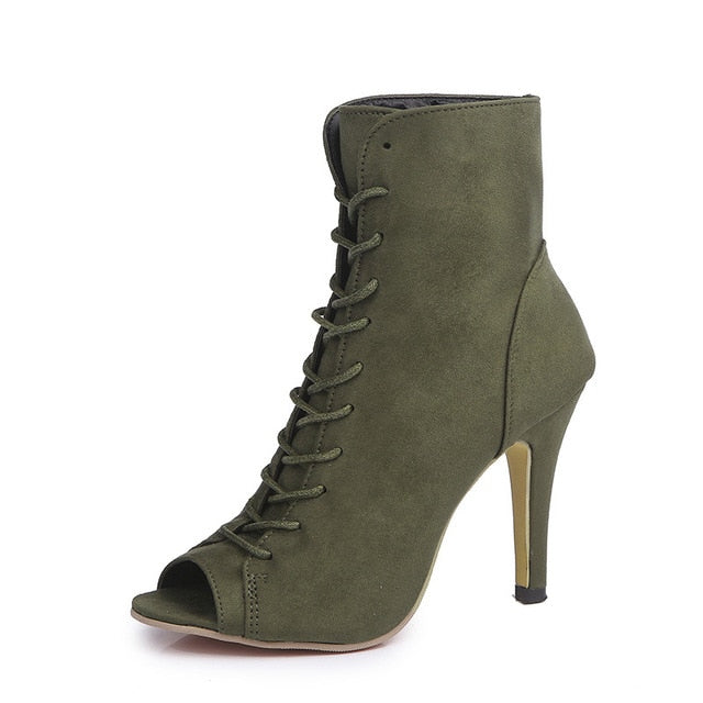Lace-Up Peep Toe Stiletto Heel Boots - LeFabStyle™