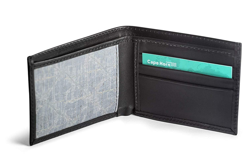 Cape Horn Apparel Leather: Black Semi-gloss / Sail: Carbon Black Bifold Wallet (Carbon sail in the inside)