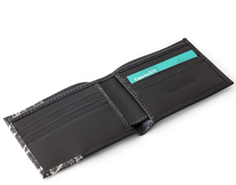 Cape Horn Apparel Leather: Black Semi-gloss / Sail: Carbon + Kevlar Black Bifold Wallet (sail in the cover)