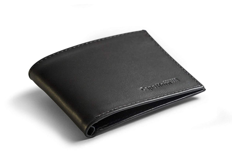 Cape Horn Apparel Leather: Black Semi-gloss / Sail: Carbon + Kevlar Black Bifold Wallets (Carbon + Kevlar sail in the inside)