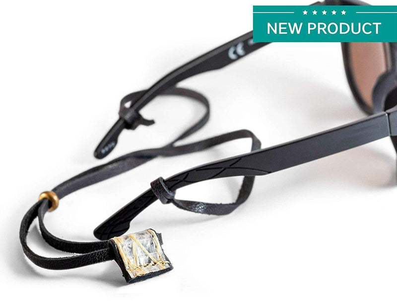 Cape Horn Apparel Leather: Black Semi-gloss / Sail: Kevlar Brown Eyewear Strap
