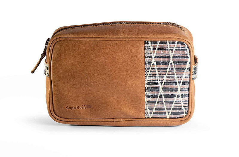 Cape Horn Apparel Leather: Caramel Brown / Sail: Carbono + Kevlar Small Brown Luggage Leather Packing Organizer