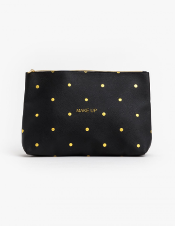 Cosmetic Bag - Black/Gold Spot