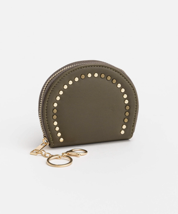 Round with Stud Coin Purse - Khaki