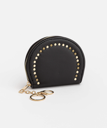 Round with Stud Coin Purse - Black