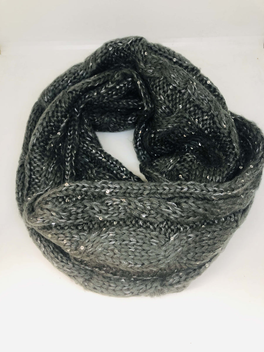 Grey Sequin Scarf