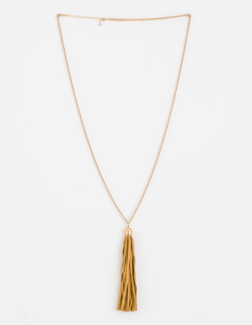 Mustard Suede Tassel Necklace