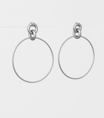 Silver Hoop with Knot Earrings