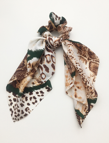 Green Safari Scrunchie Scarf