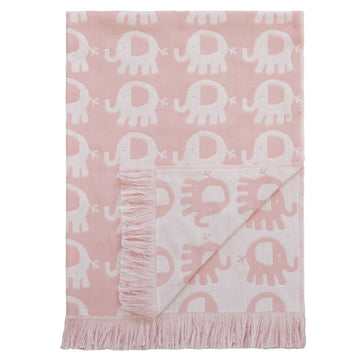 Elephant Cotton Baby Blanket-Pink