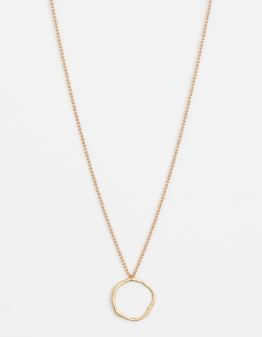 Gold Circle with Amber Beads Chain Necklace