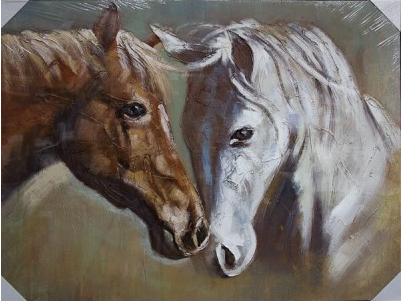 Two Horses White/Bay Canvas