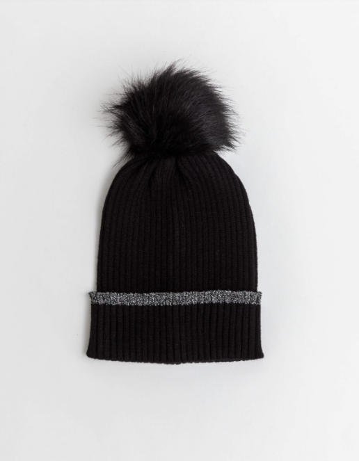 Black with Gunmetal Lurex Beanie