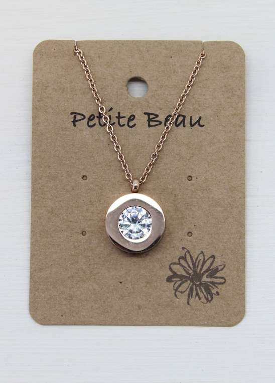 Petite Beau Stainless Steel Diamond Necklace