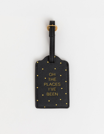 Travel Tag - Black/Gold Spot