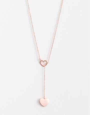 Black: Lariat Rose Heart Necklace