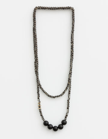 Necklace - Charcoal with Black Balls