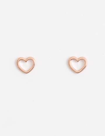 Black: Rose Gold Heart Earrings