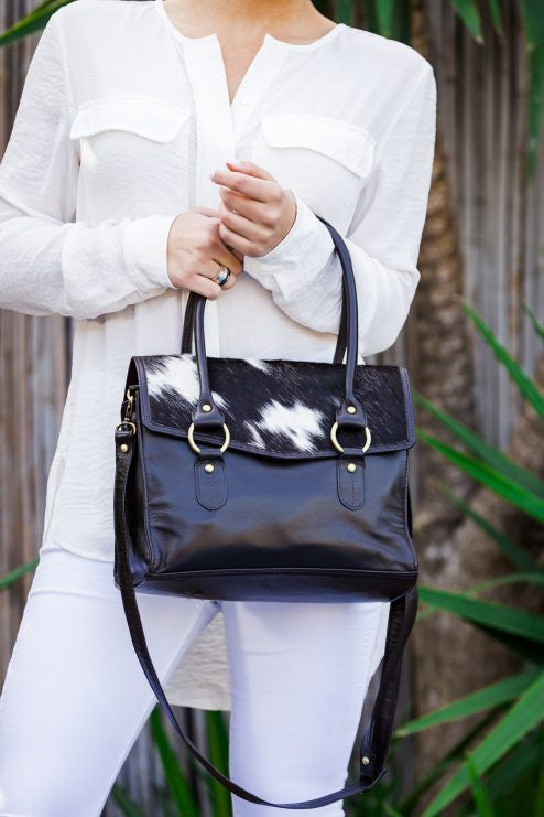 Cow hide ladies office bag
