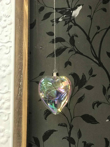 Hanging Glass Pearl Heart