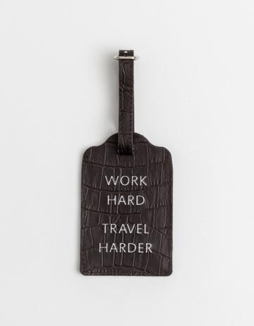 Black Travel Tag 'Work Hard, Travel Harder'