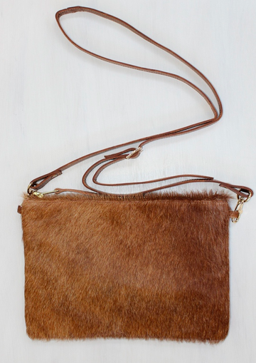 Ginger Leather Fur Bag