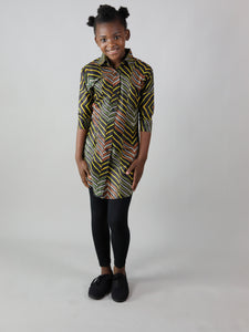 AFRICAN PRINT GIRLS' LINDOP DRESS SHIRT
