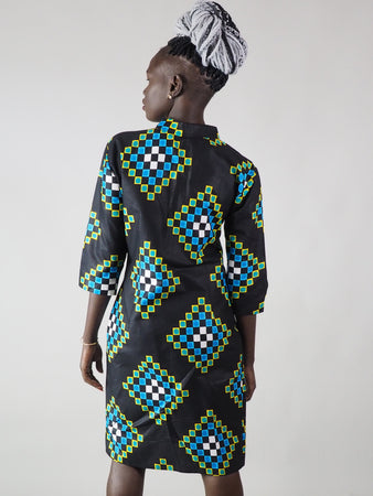 AFRICAN PRINT LADIES' AYAN DRESS SHIRT