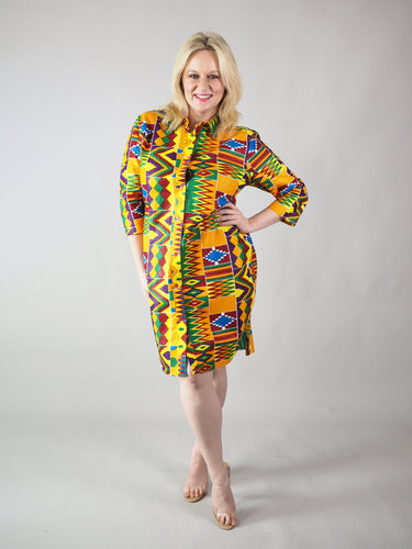 AFRICAN PRINT LADIES' D'TIA SHIRT DRESS