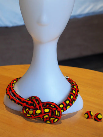 HANDMADE LONGI AFRICAN PRINT NECKLACE SET