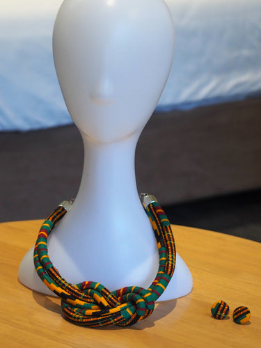 HANDMADE MBOA AFRICAN PRINT NECKLACE SET