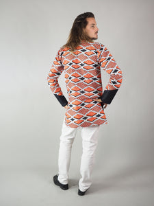PANAY AFRICAN PRINT MEN'S LONG SLEEVE SHIRT