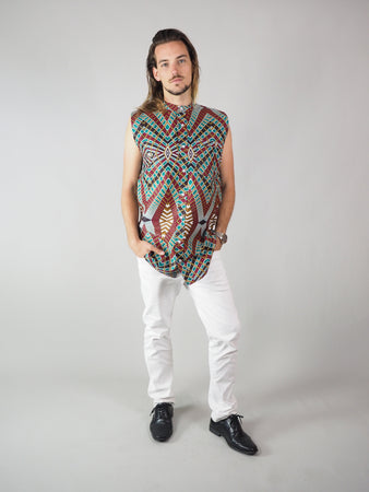 SERYA AFRICAN PRINT MEN'S SLEEVELESS SHIRT