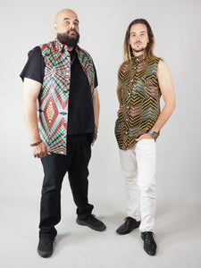 PANUA AFRICAN PRINT MEN'S SLEEVELESS SHIRT