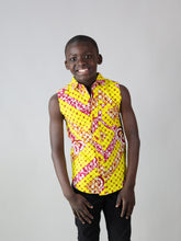 Load image into Gallery viewer, HOK AFRICAN PRINT BOYS SLEEVELESS SHIRT