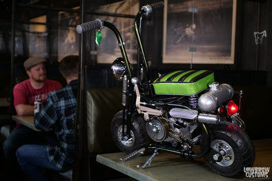 "Lowbrow Spotlight: Meet Dowie ""Dutch"" Soetenga And His 2021 Lowbrow Customs Micro Mini Bike ""The Lil Green Hornet"""