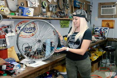 "VIDEO: How to Install a 21"" Chrome Lowbrow Customs Ribbed Spool Hub Wheel on a 39mm Narrow Glide Front End"