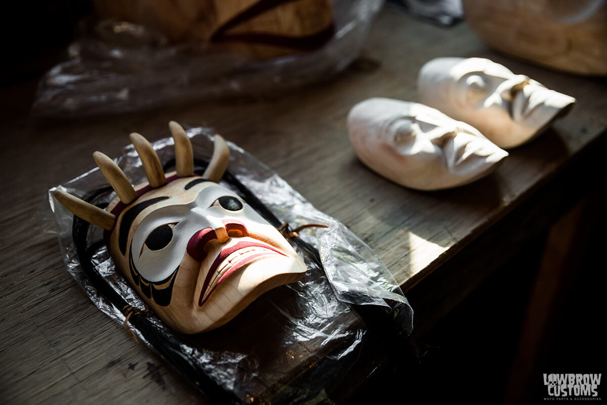 Ceremonial mask carvings by Calvin McNeil.