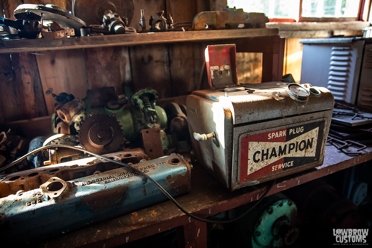 Champion spark plugs, motor parts, the machine shop at the cannery.