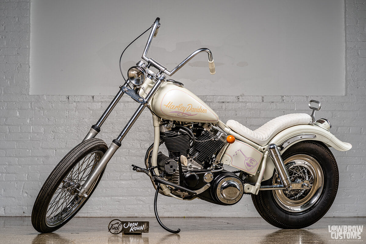 Josh Kohn's Magnum at Fuel Cleveland with 35mm front end, which would have originally been found on a Sportster or FX model Harley. Photo by David Carlo.