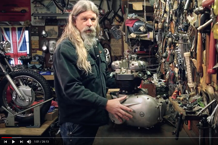 Todd in the first episode of Lowbrow's Triumph 650 Motorcycle Engine Disassembly and Rebuild video series.