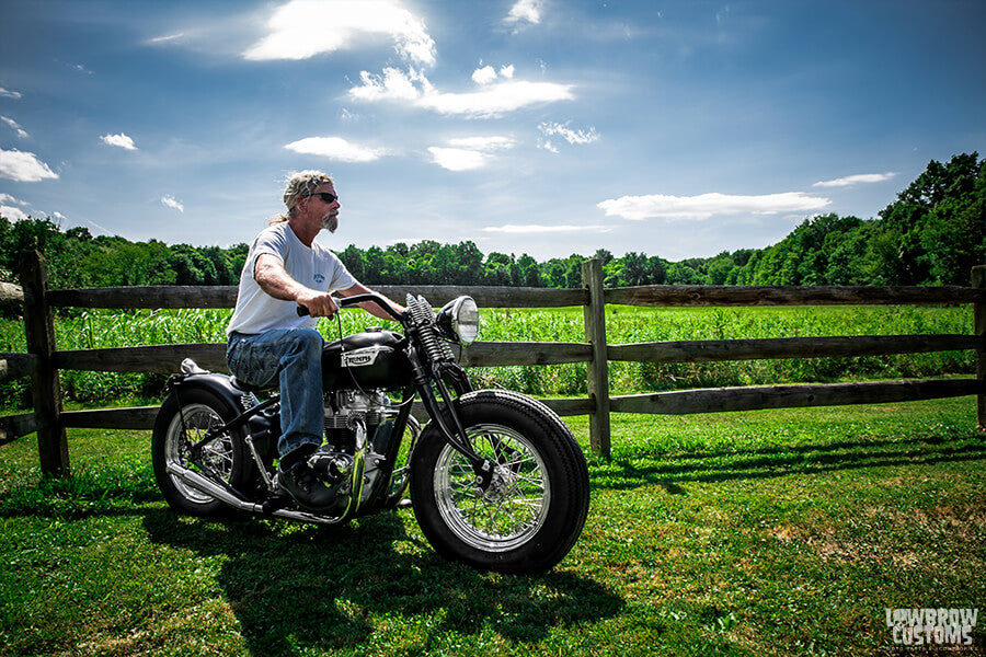 Todd heading off on a ride on his custom 1968 Triumph 650cc bobber.