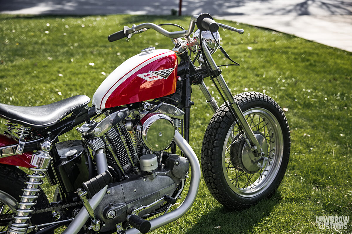 Todd Muller's Harley Sportster Ironhead with 33.4mm, drum brake front fork.
