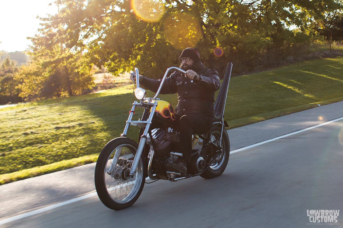 Kerry Sayre on his Panhead Chopper with a Wide Glide Front end